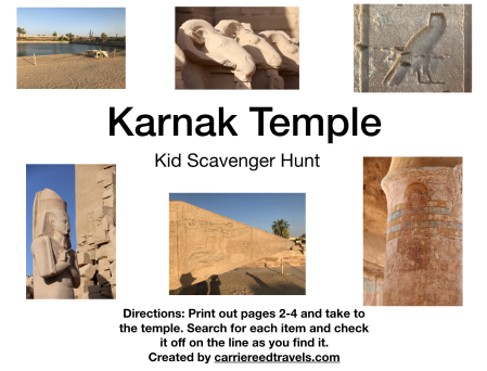 Karnak Temple Scavenger Hunt for Kids in Luxor, Egypt | www.carriereedtravels.com